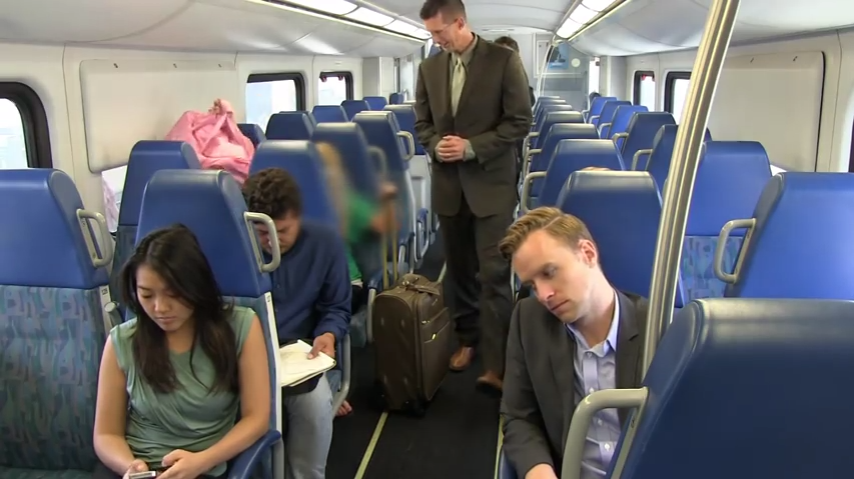 The following video contains footage of a Metrolink passenger exhibiting poor baggage etiquette.